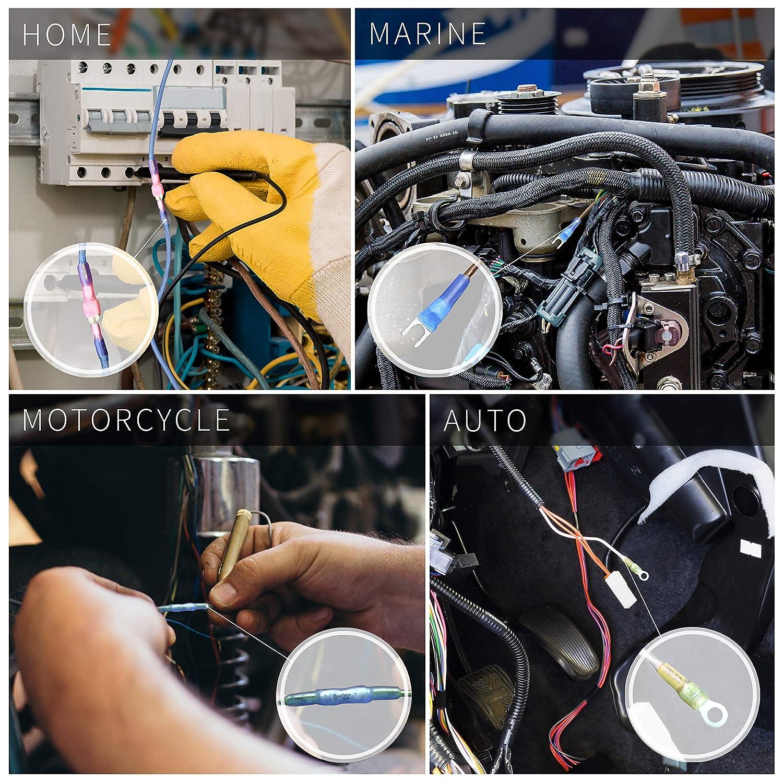 120 PCS Kit de conectores termoencogible Wirefy - Terminales de cables con aislamiento eléctrico - Anillo crimpeador marino impermeable automotriz: ...