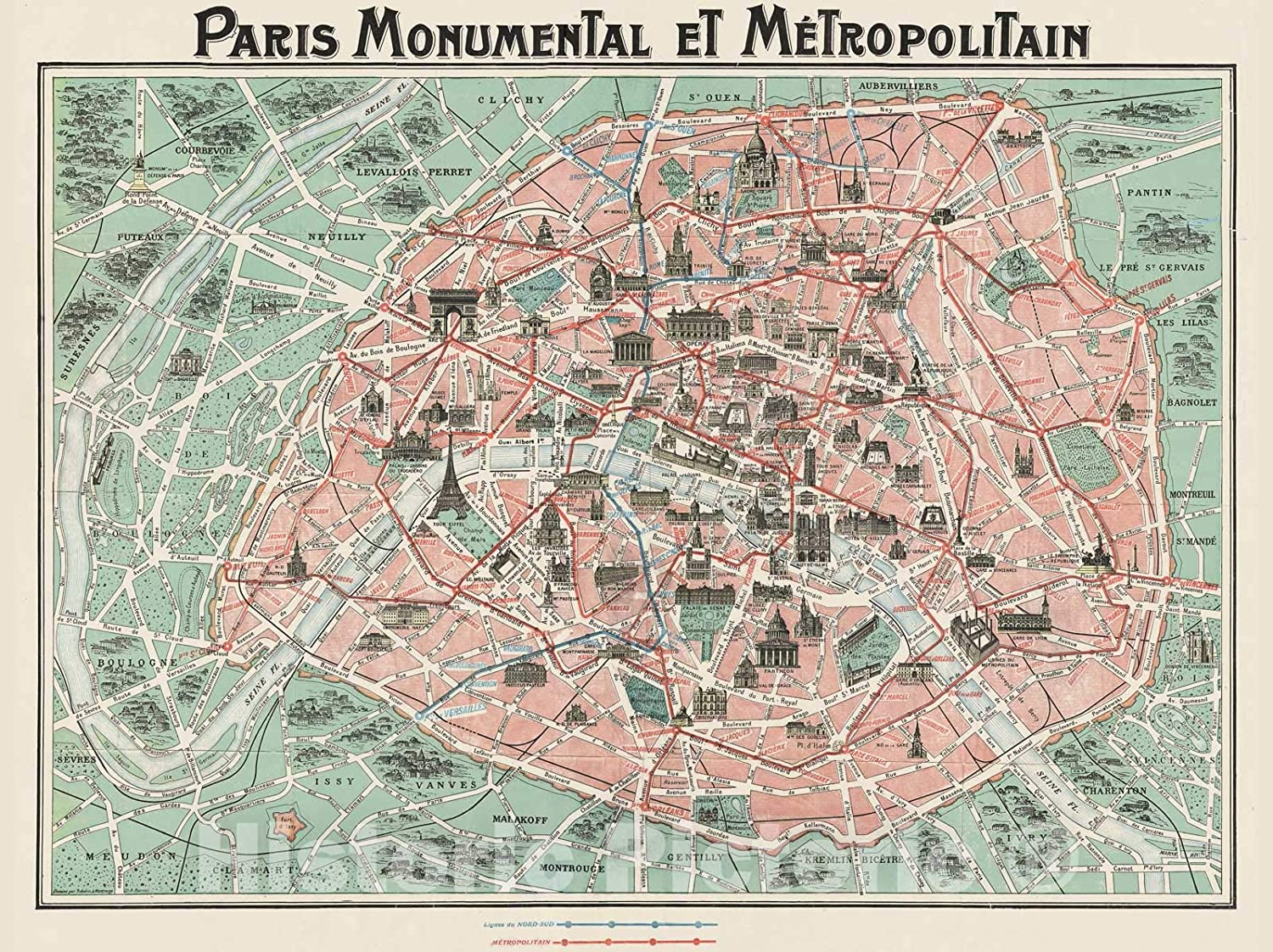 France Wall Art Poster Print Decor Vintage Style History Pictorial Map of Paris