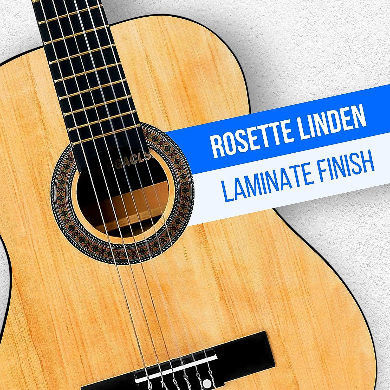 "Pyle 36"" Classical Acoustic Guitar - Rosette Linden Laminate Finish"