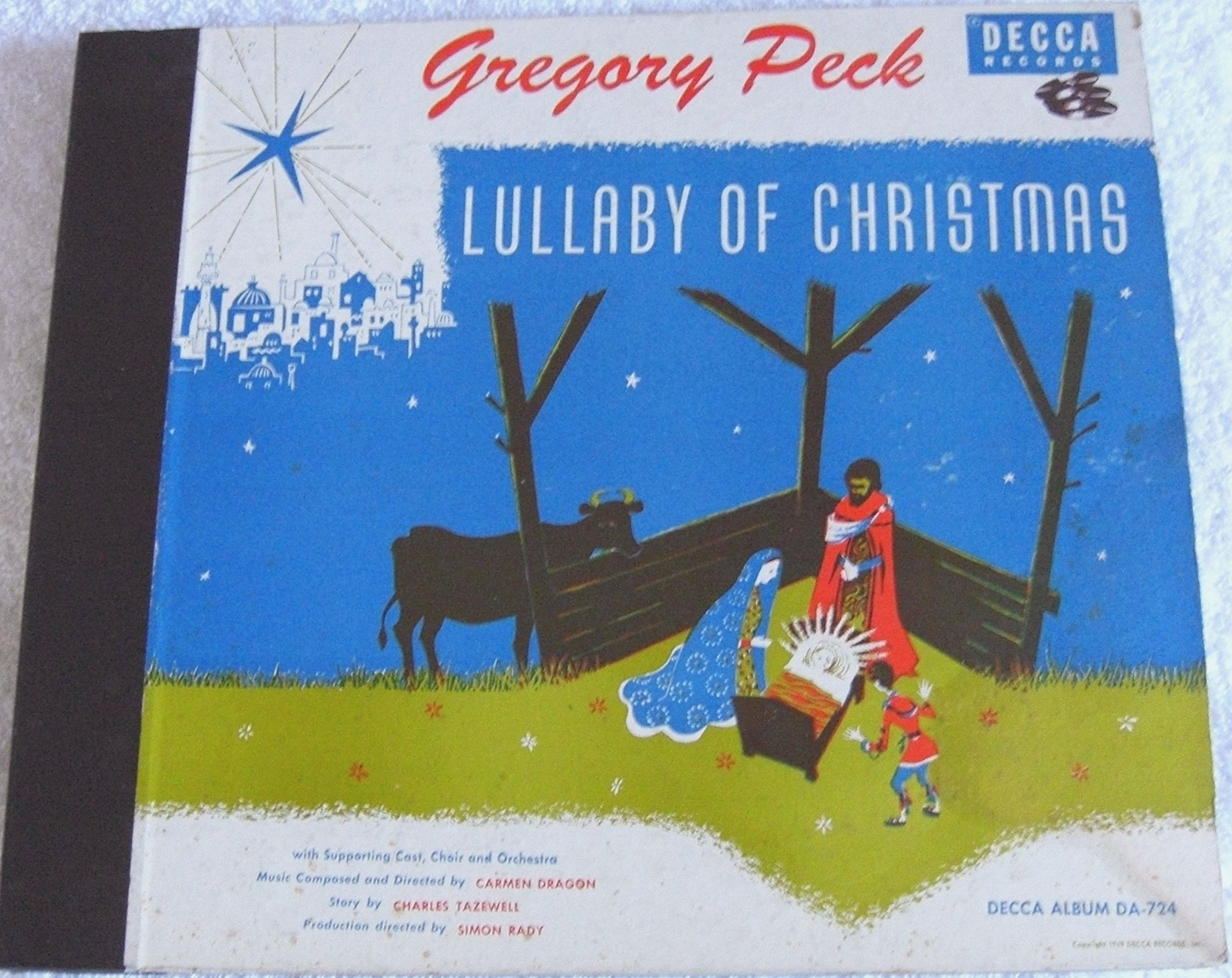 Collectible record album, Gregory Peck; Lullaby of Christmas, 78 RPM, DECCA, Personality Series, by Gregory Peck: Lullaby of Christmas, 78 RPM, DECCA, Personality Series,