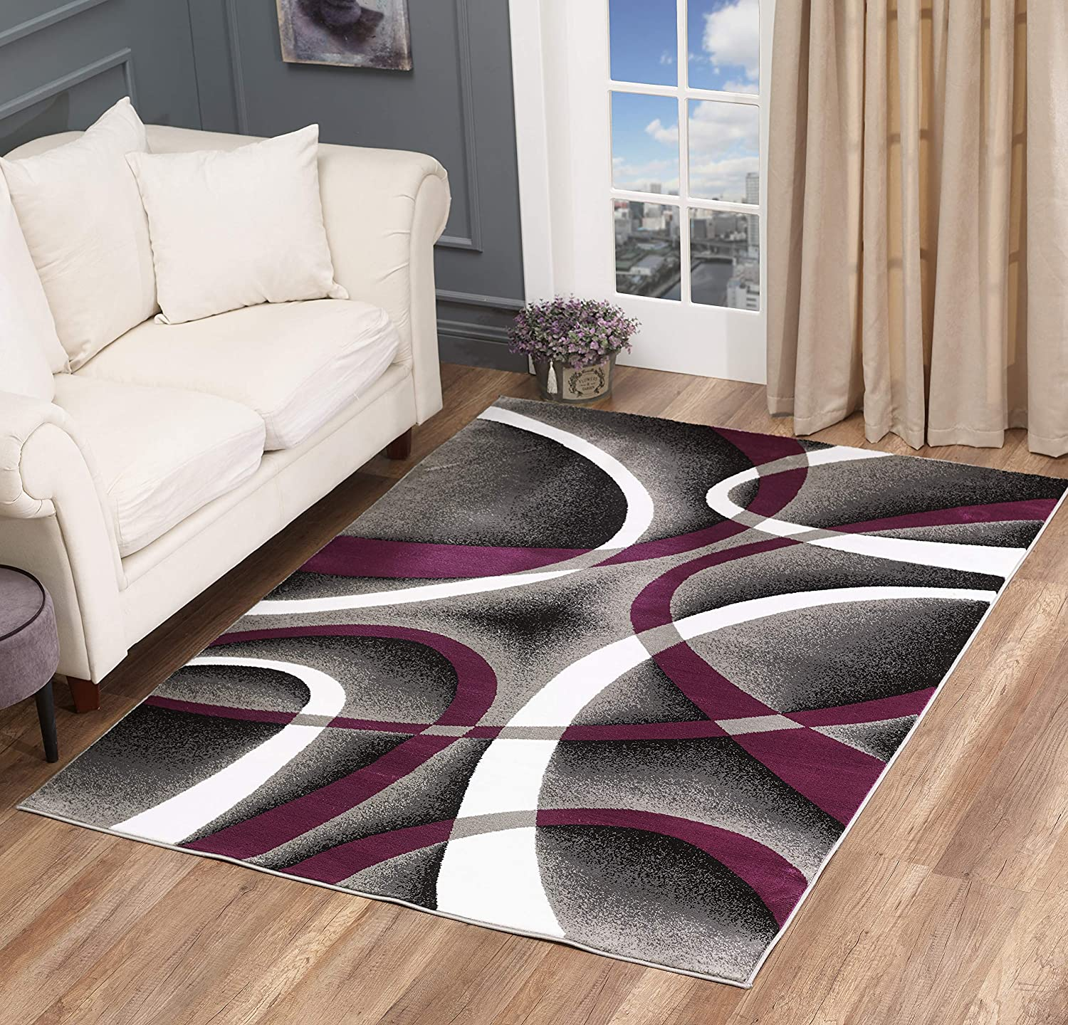 Golden Rugs Modern Area Rug Swirls Carpet Bedroom Living Room Contemporary Dining Accent Sevilla Collection 4816 (5x7, Purple)