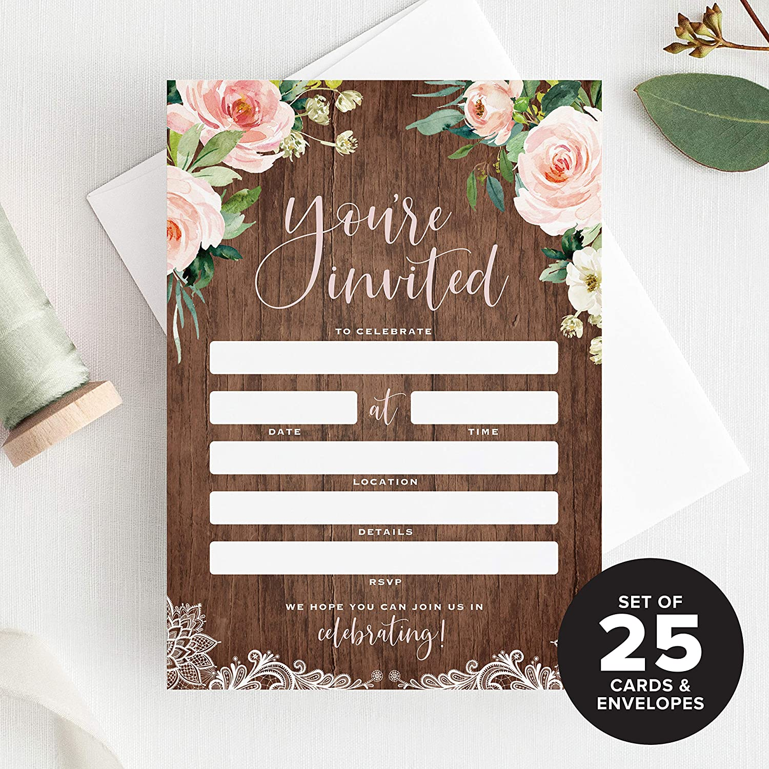 Engagement Wood and Floral Invites Perfect for: Weddings Anniversary or Special Event /— Fill in Cards Bliss Paper Boutique 25 Rustic Invitations with Envelopes for All Occasions Birthday Party Bridal Showers