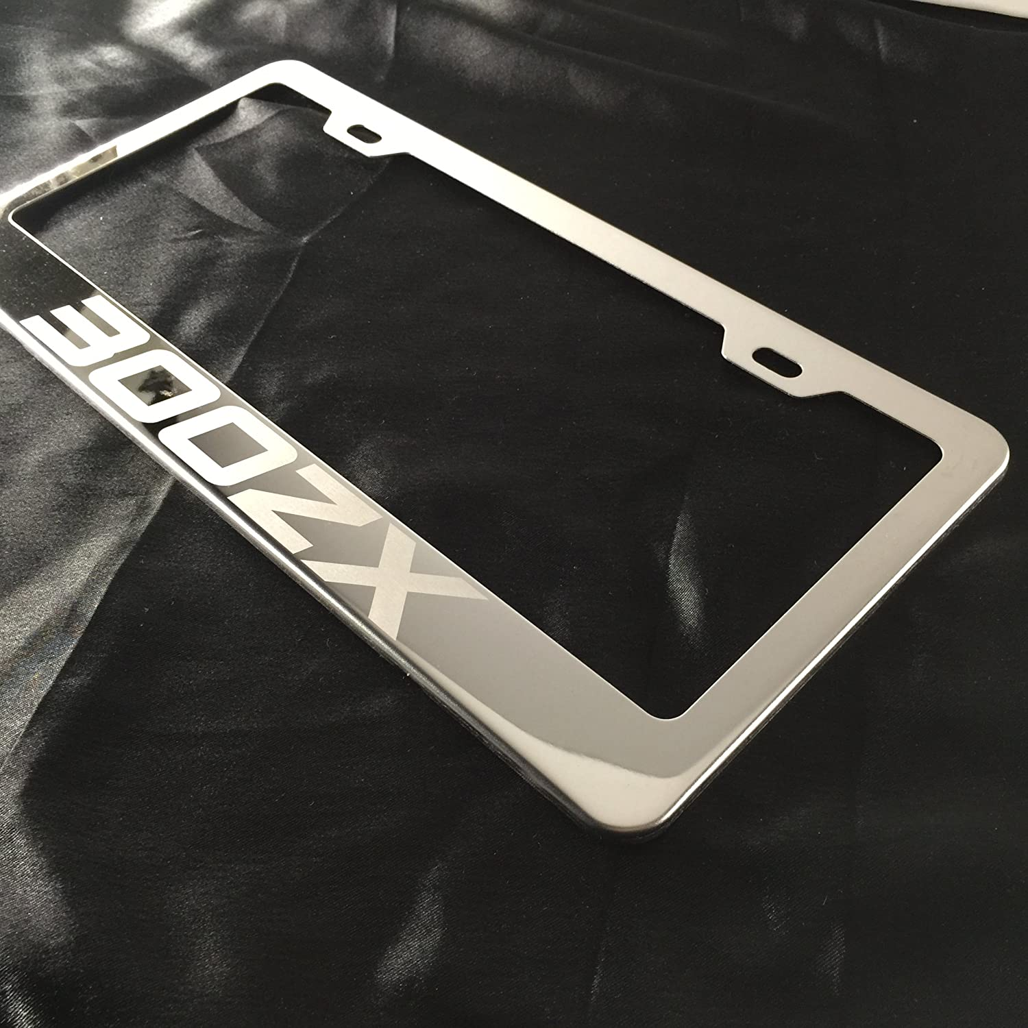 Fit Nissan 300ZX Laser Engraved Stainless Steel Chrome Polish License Plate Frame