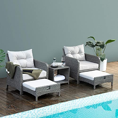 PAMAPIC 5 Pieces Wicker Patio Furniture Set Outdoor Patio Chair