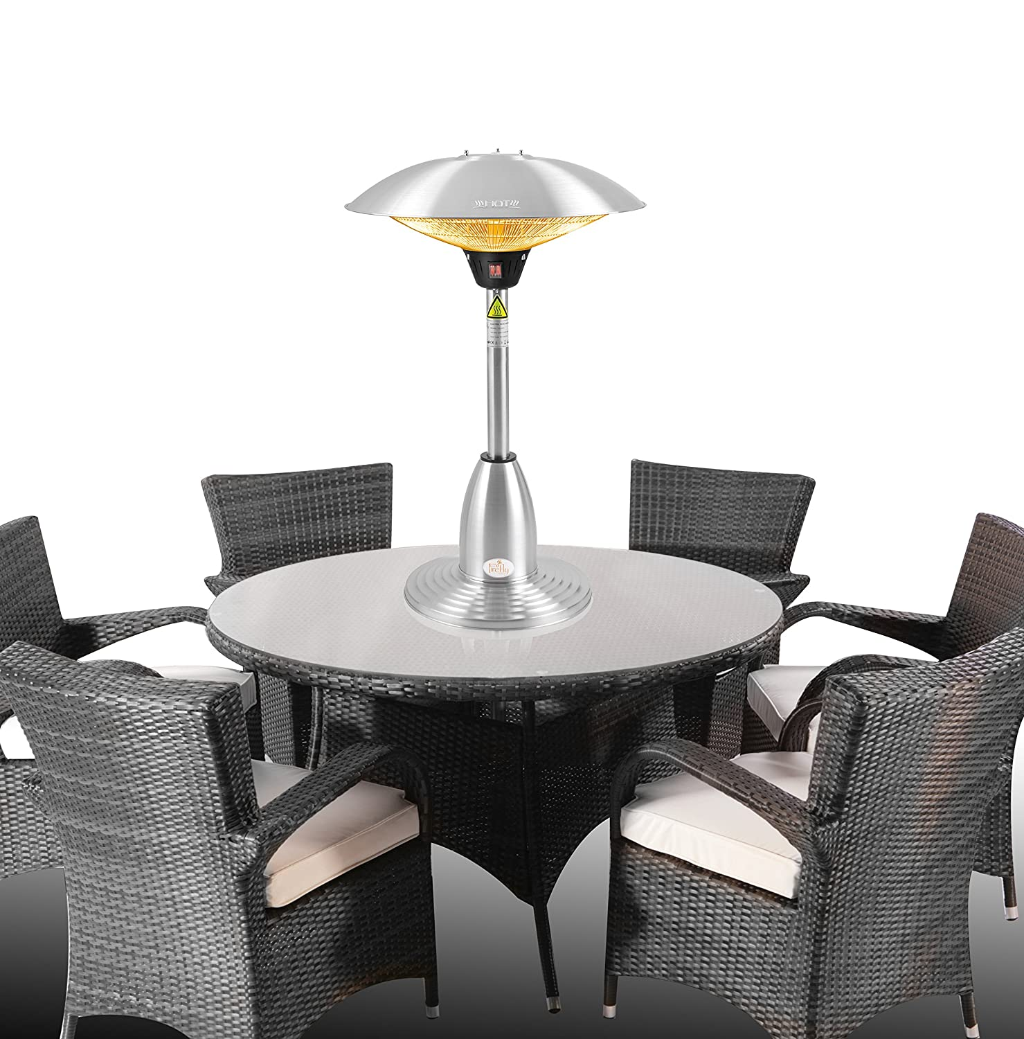 Firefly 2.1kW Stainless Steel Halogen Bulb Infrared Electric Table Top Outdoor Patio Heater with 3 Heat Settings Primrose