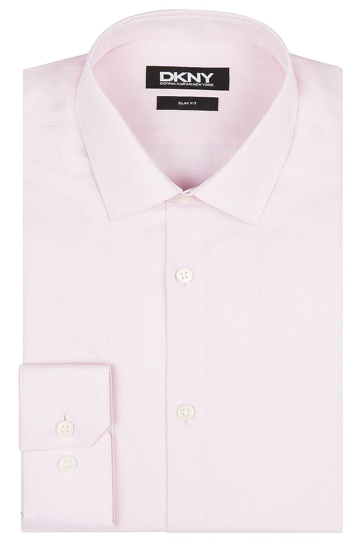 DKNY Men`s Slim Fit Pink Single Cuff Texture Shirt
