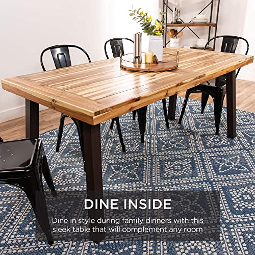 Best Choice Products 6-Person Indoor Outdoor Rustic Acacia Wood Picnic Dining Table w/Metal Finish Leg