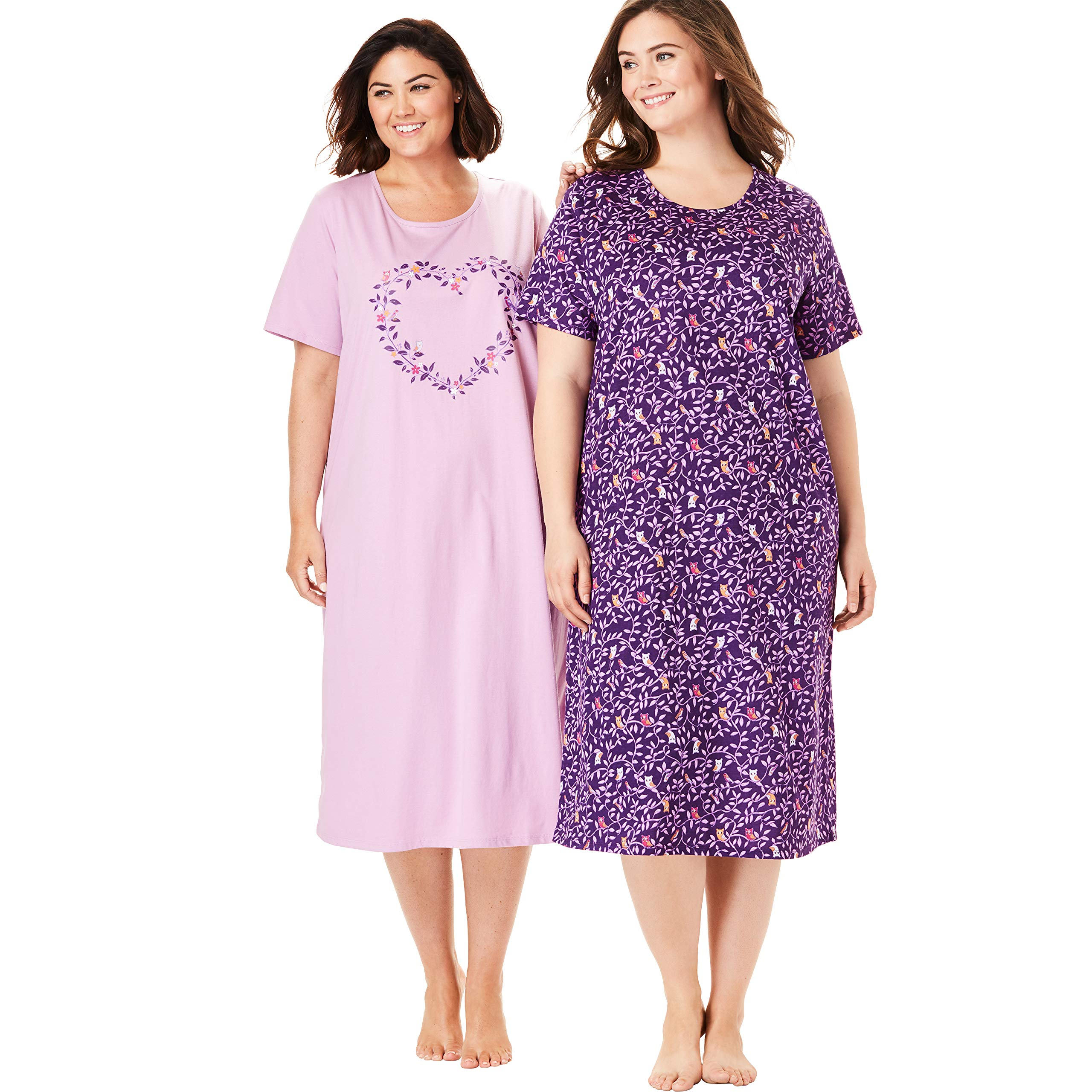 Dreams & Co. Women's Plus Size 2-Pack Long Sleepshirts - Rich Violet Owl, 3X/4X by Dreams & Co.