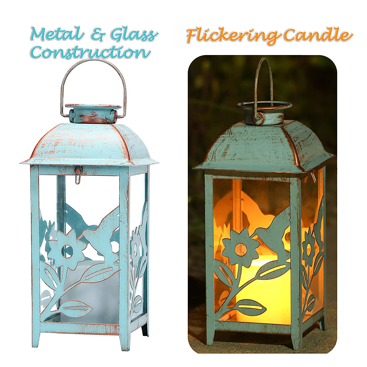 Solar Lantern Outdoor Hummingbird Blue Decor Antique Metal and Glass Construction Mission Solar Garden Lantern Indoor and Outdoor Solar Hanging Lantern Entirely Solar Powered Lantern Low Maintenance