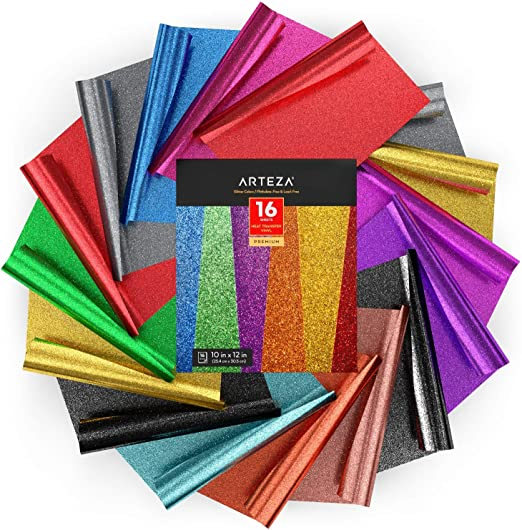 Arteza Vinilo textil termoadhesivo | 25,4x30,5 cm | Caja de 16 hojas flexibles | Vinilo térmico resistente, fácil de pelar y sin tóxicos | Apto para cualquier máquina de corte | Colores de purpurina: Amazon.es: Hogar