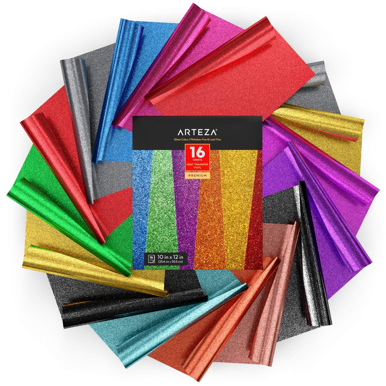 Arteza Heat Transfer Vinyl Set, 16 Multi-Color Glitter HTV Sheets, 10x12 Inches Each, Sturdy & Easy to Weed, Safe & Nontoxic, Use with Any Craft Cutting Machine, Boxed by ARTEZA