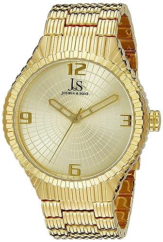 Joshua & Sons Reloj Oro de Cuarzo japonés de la Pantalla analógica Hombre