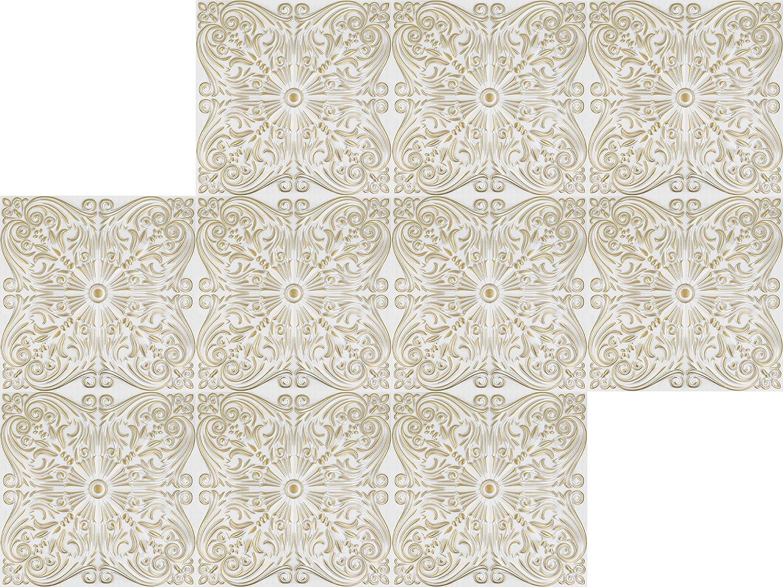 Nr.76 Pacchetto Risparmio Pannelli per Soffitto Stuck Pannelli di Polistirolo Rivestimento Soffitto 50x50cm bianco 20 M /²//80 Vassoi