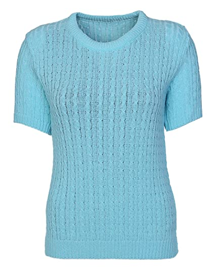 a0d2591a266e Womens Cable Knit Short Sleeves Jumpers Ladies Classic Knitwear Half ...