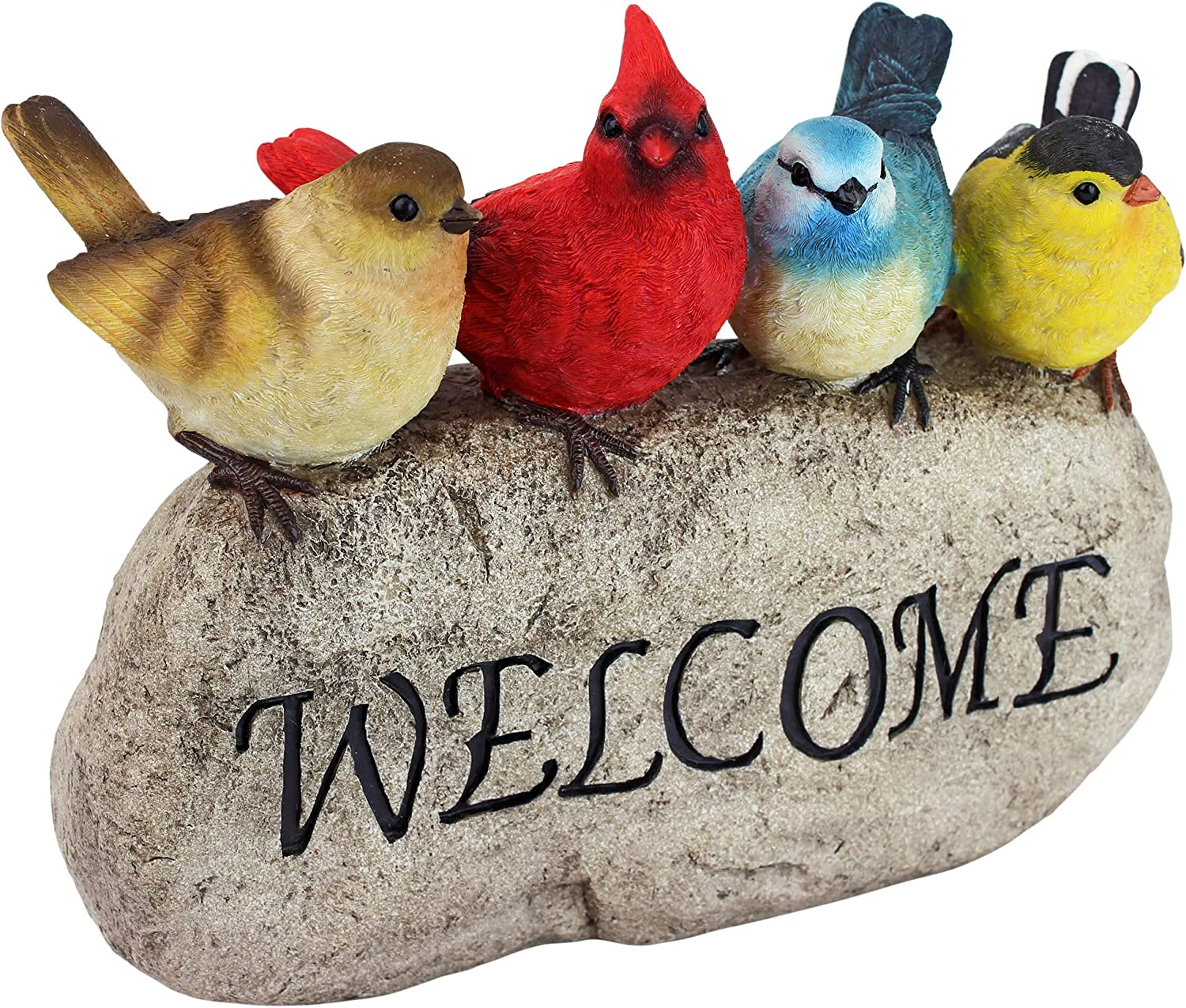 Design Toscano QM21001 Birdy Welcome Garden Stone Statue, Large, Full Color