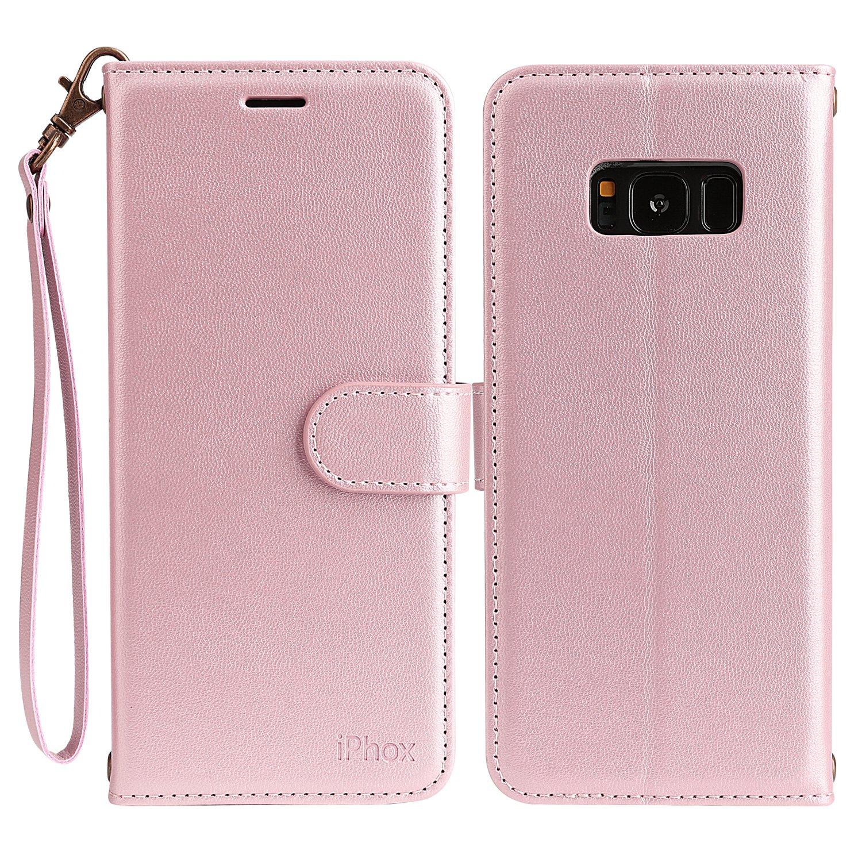 Samsung Galaxy S8, IPHOX Premium Folio Cartera de cuero con [Kickstand] [Ranuras para tarjetas] [Cierre magnético] [Correa de mano] Flip Funda para Galaxy ...