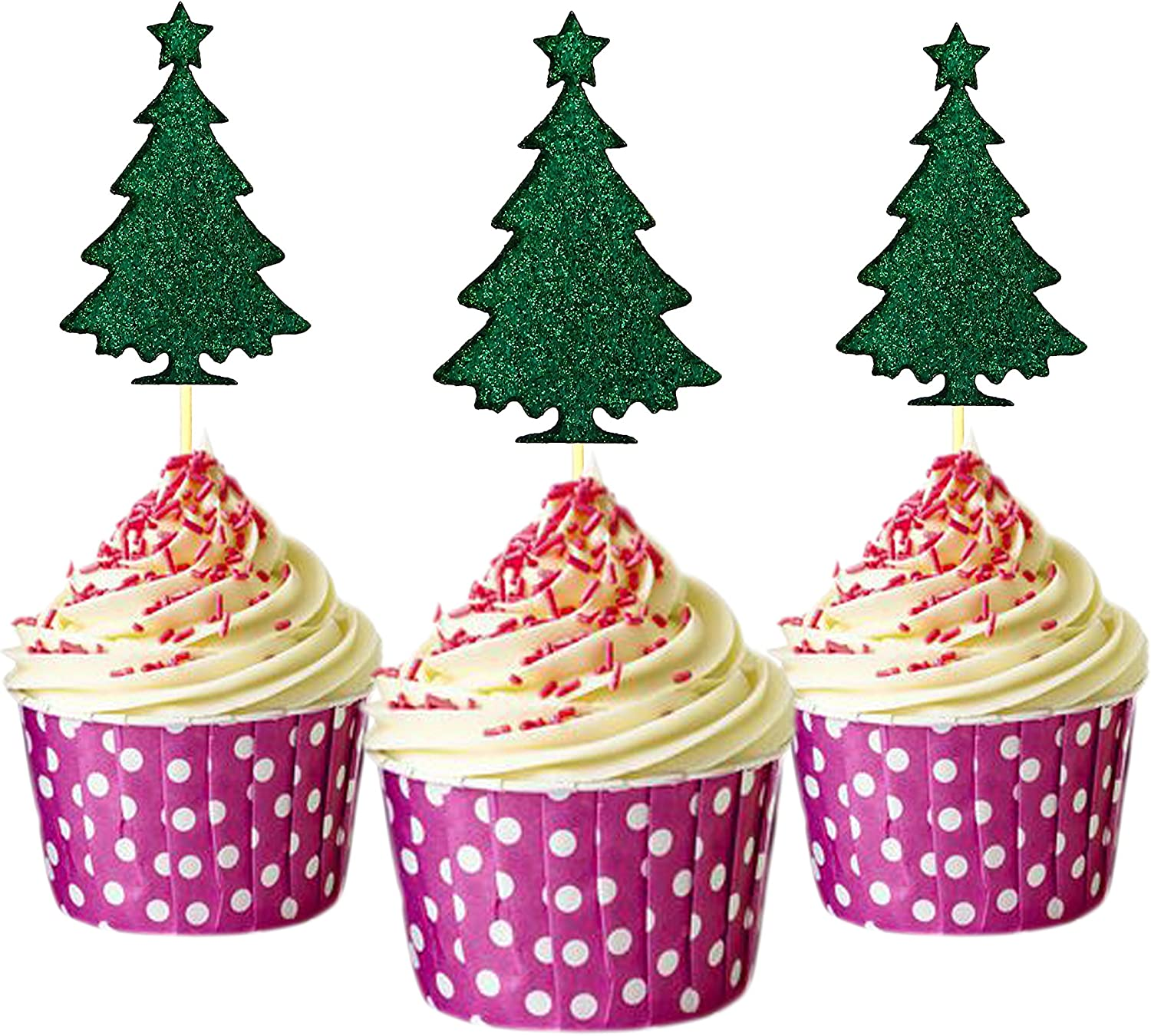 12 Christmas Tree Festive Edible Cupcake Toppers Decorations Cake Xmas Cut