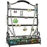 Black Metal 27 Pair Earrings Jewelry Organizer Hanger Display Stand w/ Bottom Accessories Mesh Basket