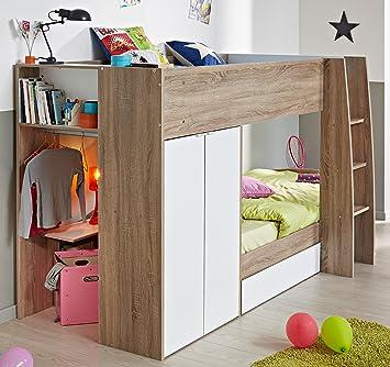 Kinderhochbett  Parisot stim- Kinderhochbett mit integriertem Schrank 90x200 ...