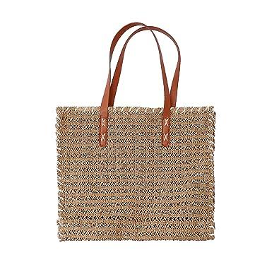 Amazon.com: Bolsa de paja tejida para playa de verano, viaje ...