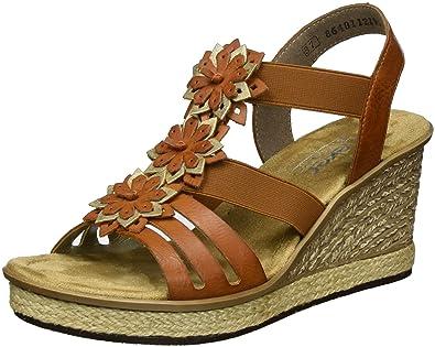 Rieker Damen 67510 Offene Sandalen mit Keilabsatz