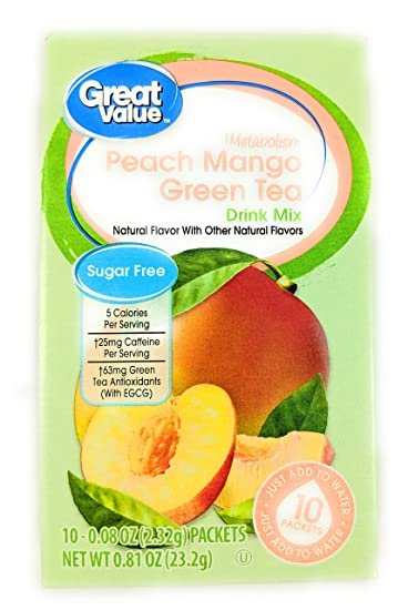 Great Value Metabolism Peach Mango Green Tea Drink Mix, 10ct (Pack of 6)