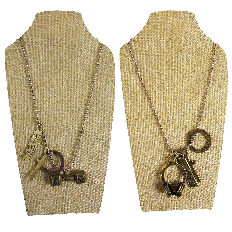 70fbda2d0c4 eshoppee Set of 2 pcs Antique Look Designer Body Building dumble dumbbled  Headphone Cross Locket Pendant with Chain Necklace Men's Women's Jewellery  ...