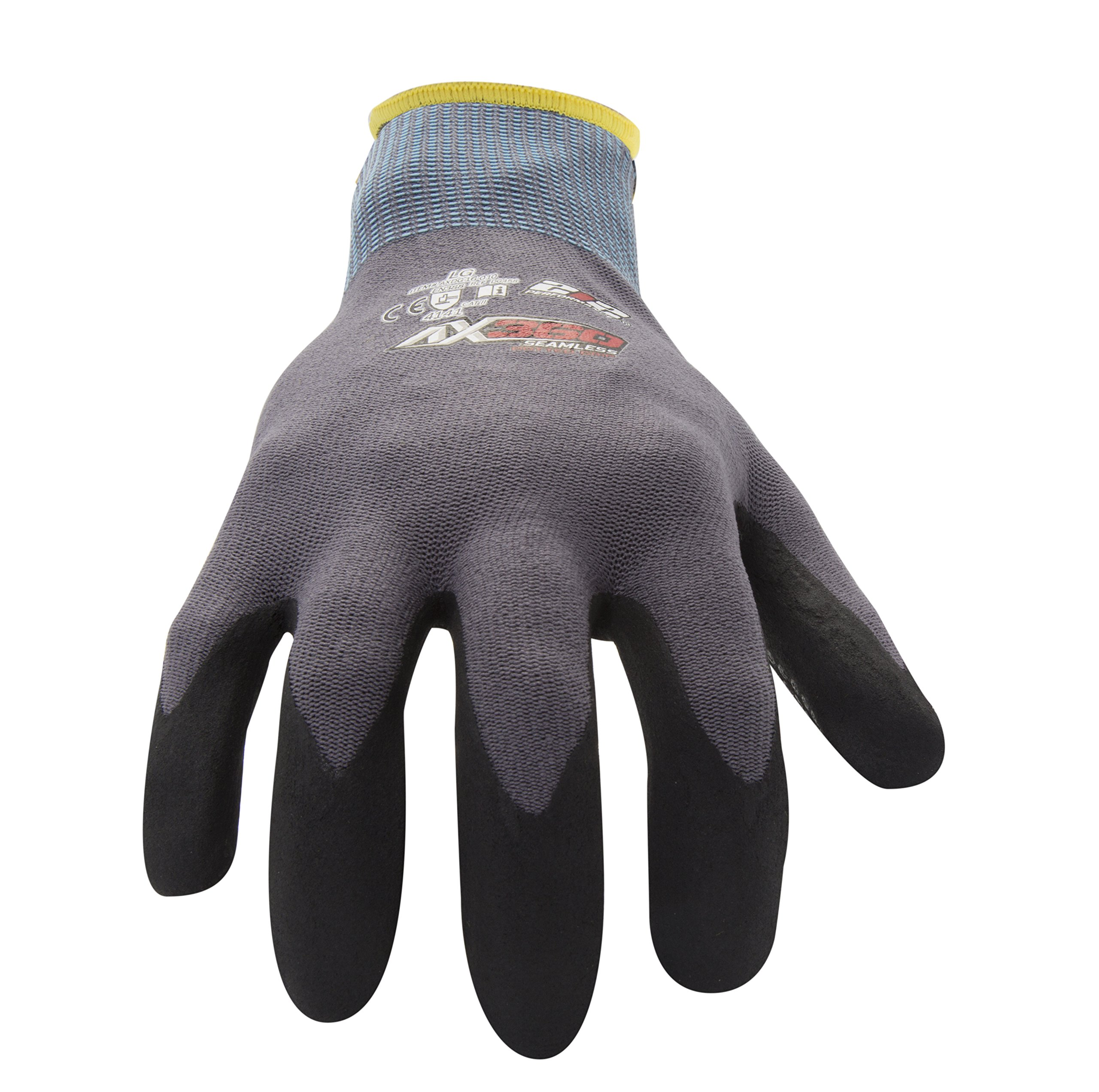 212 Performance Gloves AXDG-16-010 AX360 Dotted Grip Nitrile-dipped Work Glove, 12-Pair Bulk Pack, Large by 212 Performance Gloves (Image #2)