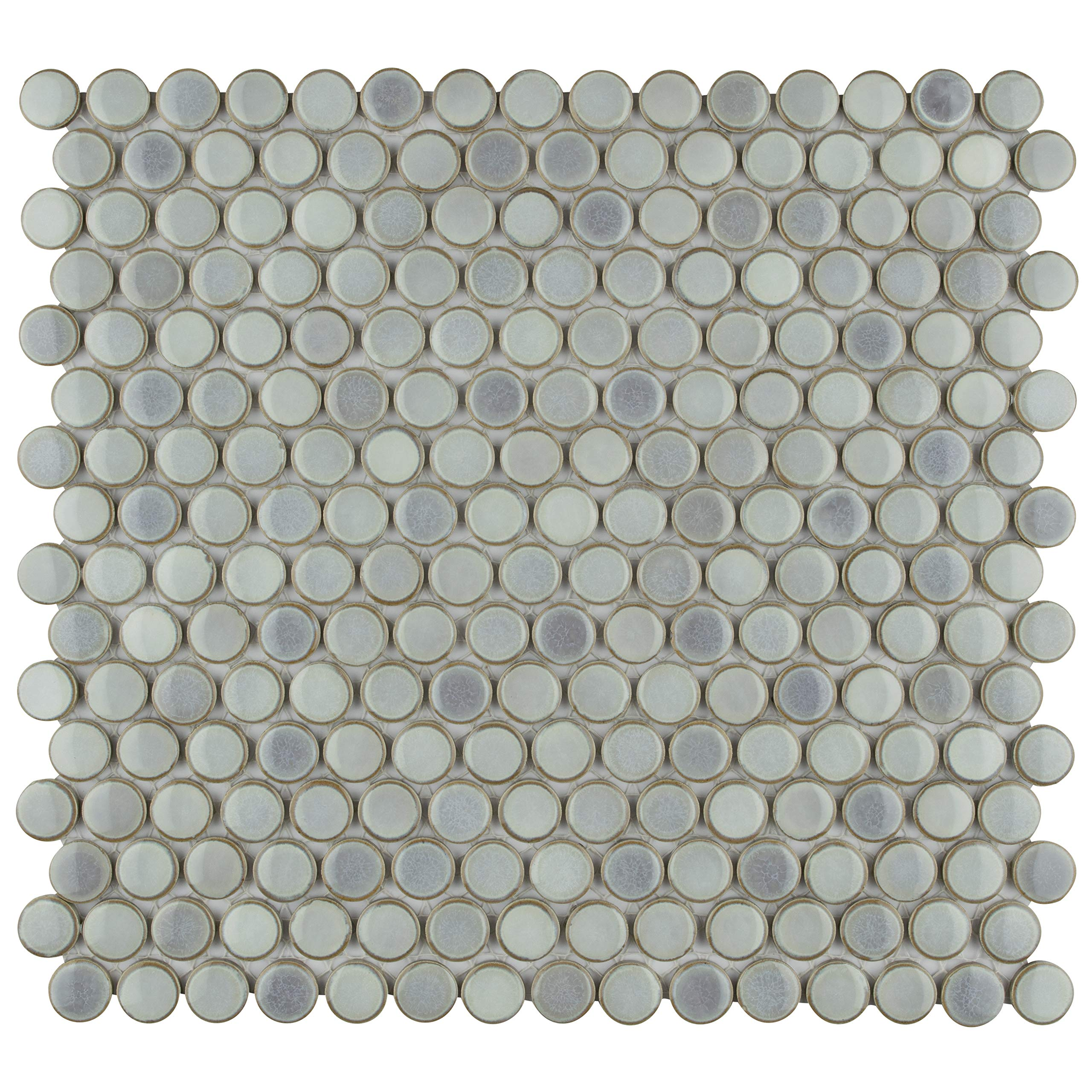 SomerTile FKOMPR12 Penny Eye Porcelain Mosaic Floor and Wall, 12'' x 12.625'', Grey Tile, 10 Piece