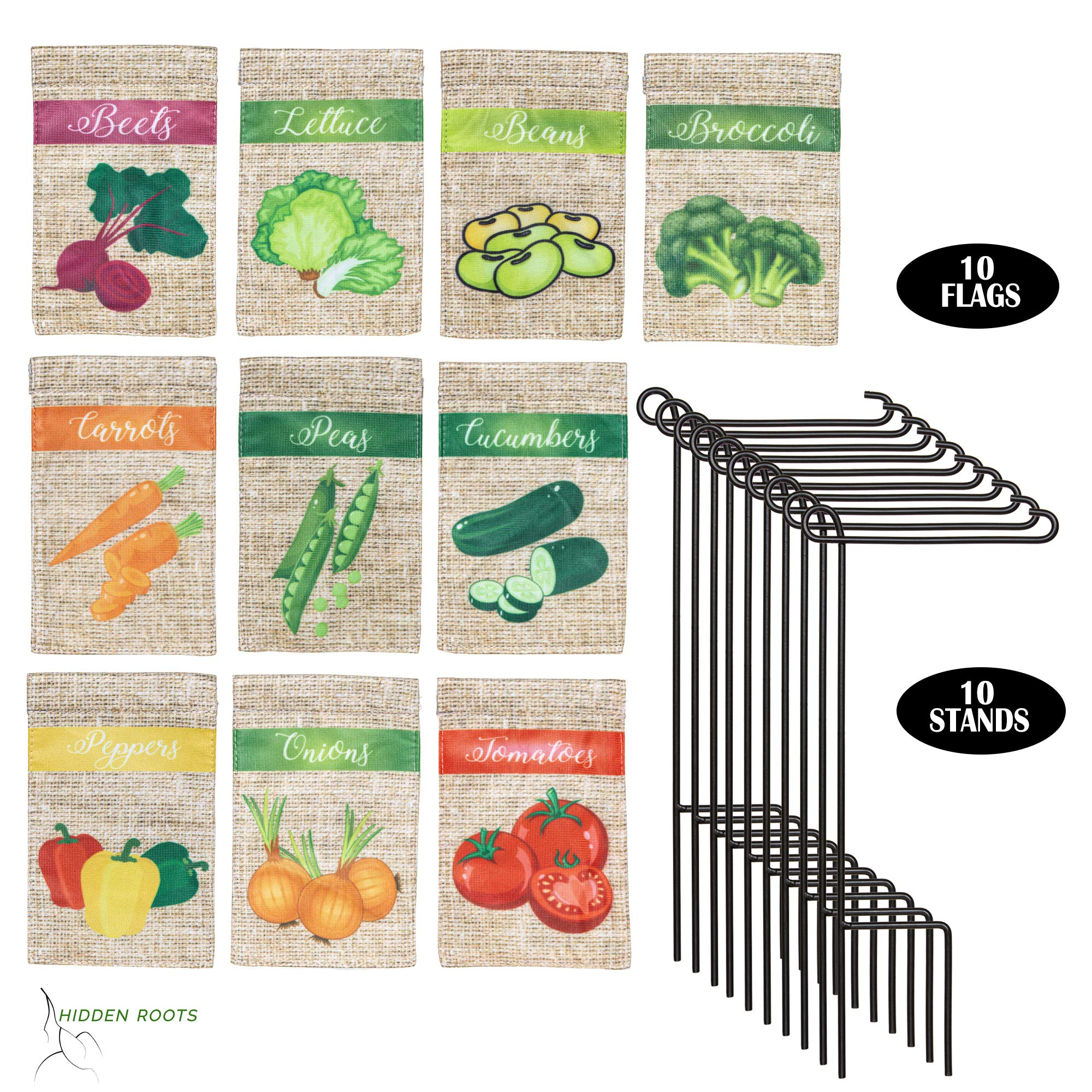 HIDDEN ROOTS - Miniature Garden Flags for Plant Labeling - 10 Pack Assortment of 3.5 x 5 inch Specially Designed Small Vegetable Identifiers - Double Sided - Premium Quality - Durable Materials (10) by Hidden Roots