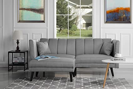 DIVANO ROMA FURNITURE Mid-Century Modern Linen Fabric Futon Sofa Bed, Living Room Sleeper Couch (Light Grey)