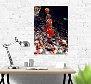 Slam Dunk Poster Compatible with Michael Jordan, Art Print, Wall Decor for Bedroom Living Room Office College Room, Great Gift Idea, Decoration Unframed Size (S - 11