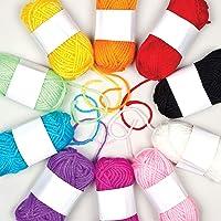 Baker Ross AG238 Kleurrijk garen voor breien, haken en versieren, 10 bollen.