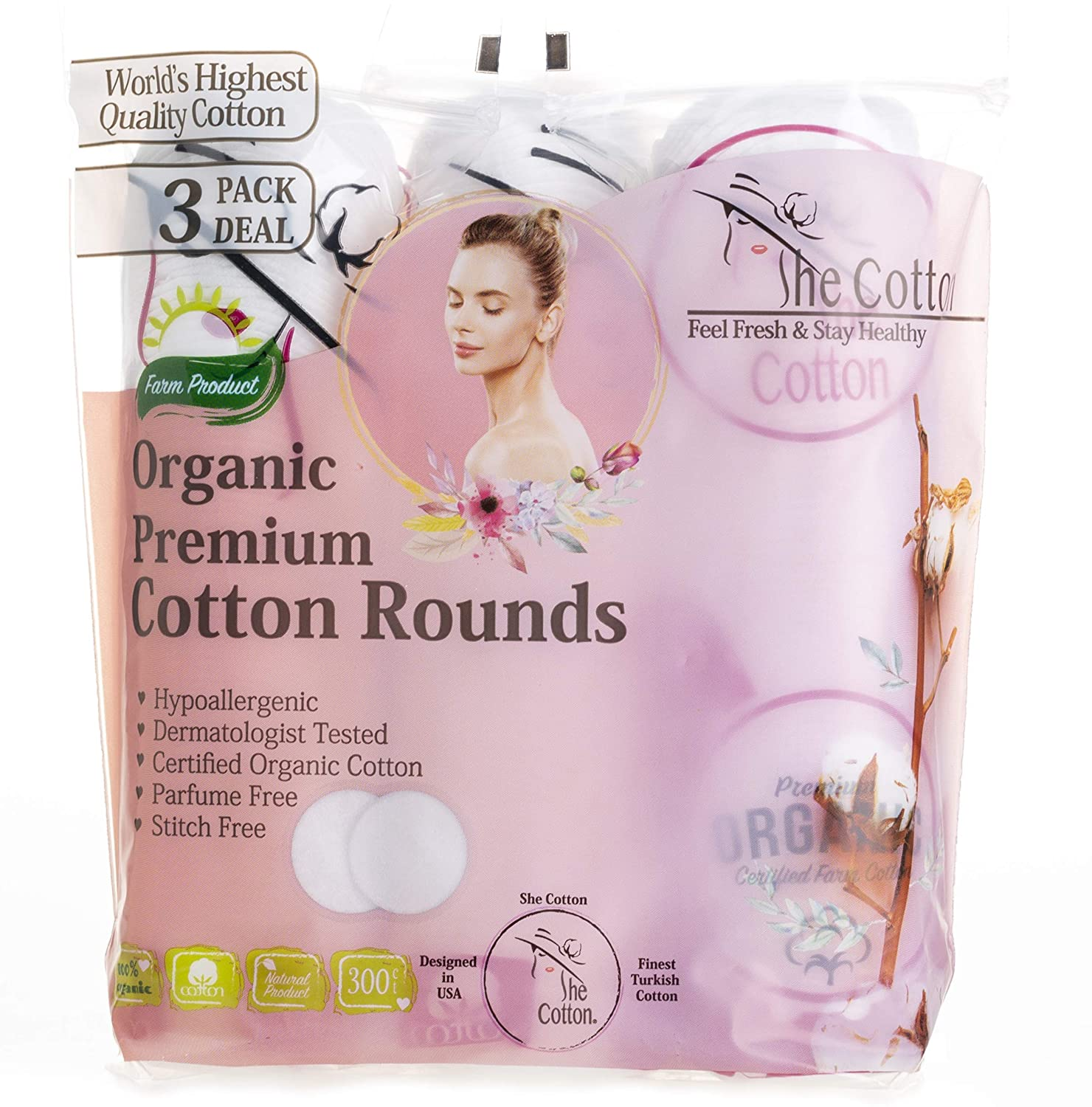 SheCotton Premium Cotton Rounds, Lint-Free Turkish Cotton Pads, Makeup-Nail Polish Remover, (3 Pack 300 Count with Extra Travel Pack)
