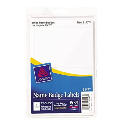 amazon com avery white print or write name badge labels 2 11 32