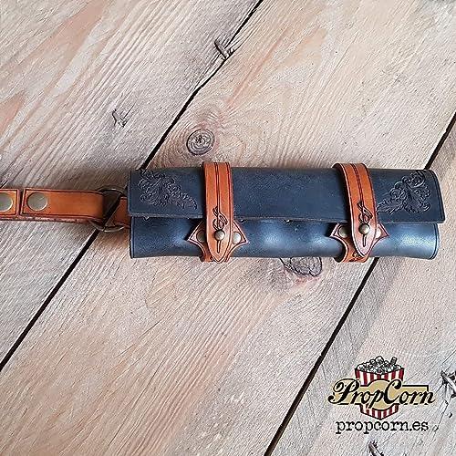 Estuche de cuero Negro con marrón oscuro para 6 pociones, kit vertical para cinturon para
