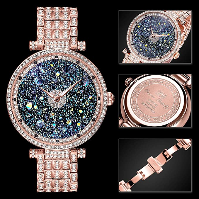 Amazon.com: PB Ladies Diamond Watches Rose Premium Austria Crystal Accented & Platinum Plated Stainless Steel Watch Band Rose, Princess Watches for Women ...