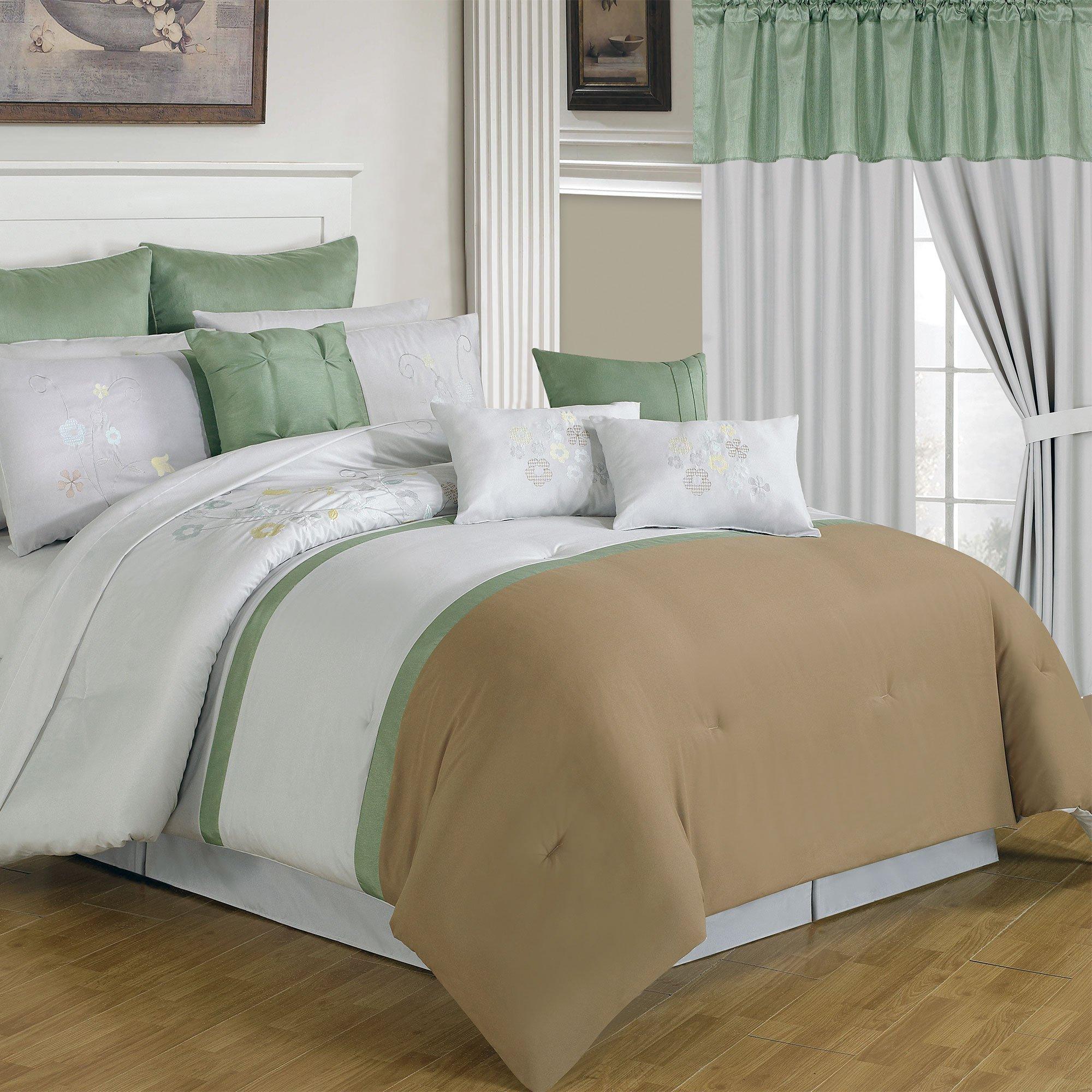 Lavish Home 66-00007-24pc-Q 24-Piece Room-in-a-Bag Elizabeth Bedroom Set, Queen