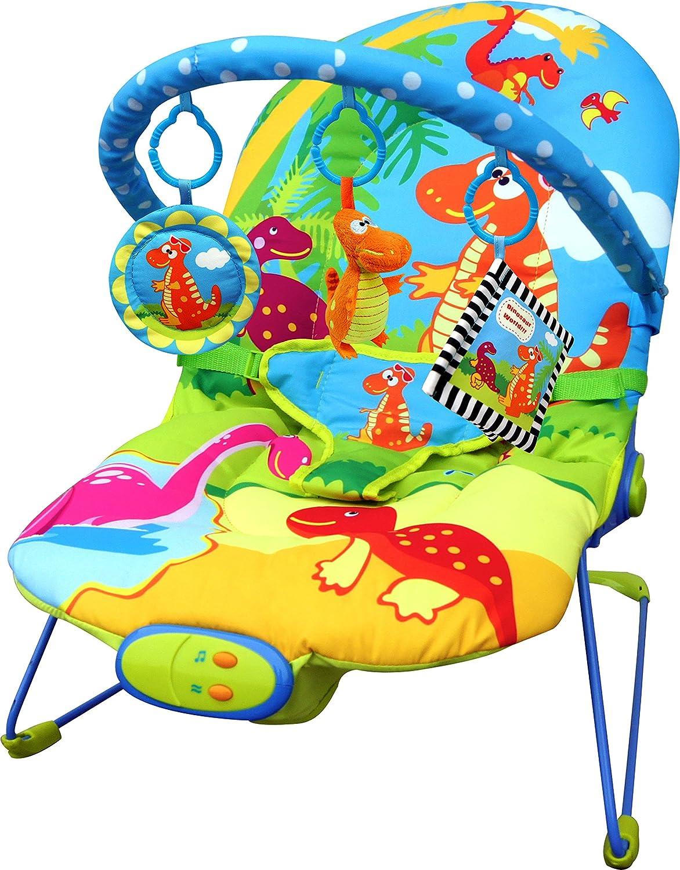 Sill/ón reclinable Just4baby con vibraci/ón con 3 juguetes colgantes dise/ño con dinosaurios y con melod/ías musicales