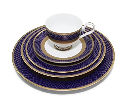 Royalty Porcelain u0026quot;Monarchu0026quot; 5pc Navy Blue u0026 White Dinnerware Set 24K Gold  sc 1 st  Amazon.com & Amazon.com | Royalty Porcelain