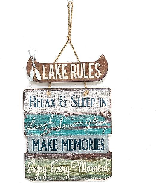 Amazon.com: Lago reglas cartel de madera Vintage Country ...