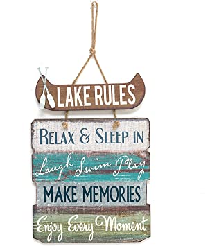 Amazon.com: Lago reglas cartel de madera Vintage Country ...