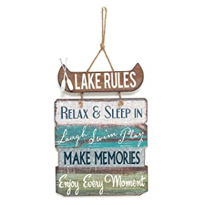 """Barnyard Designs Lake Rules Wooden Sign Vintage Country Lakeside Decor 21""""x 14"""""""