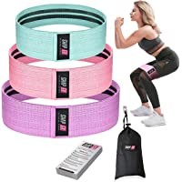ShapEx Fabric Resistance Bands Set of 3 Non-Slip Booty Bands for Hip Circle Workout and Gym Fitness Exercise with Carry Bag and Guide (3 Different Sizes)