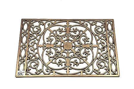 EHC 40 X 60 Cm Bronze Finish Decorative Wrought Iron Effect Rubber Grill Door  Mat
