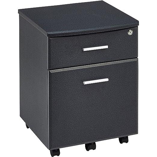 Piranha Trading Cajonera y archivador A4 con Cerradura para despacho y Oficina en casa melamina effecto Negro Grafito PC 10g