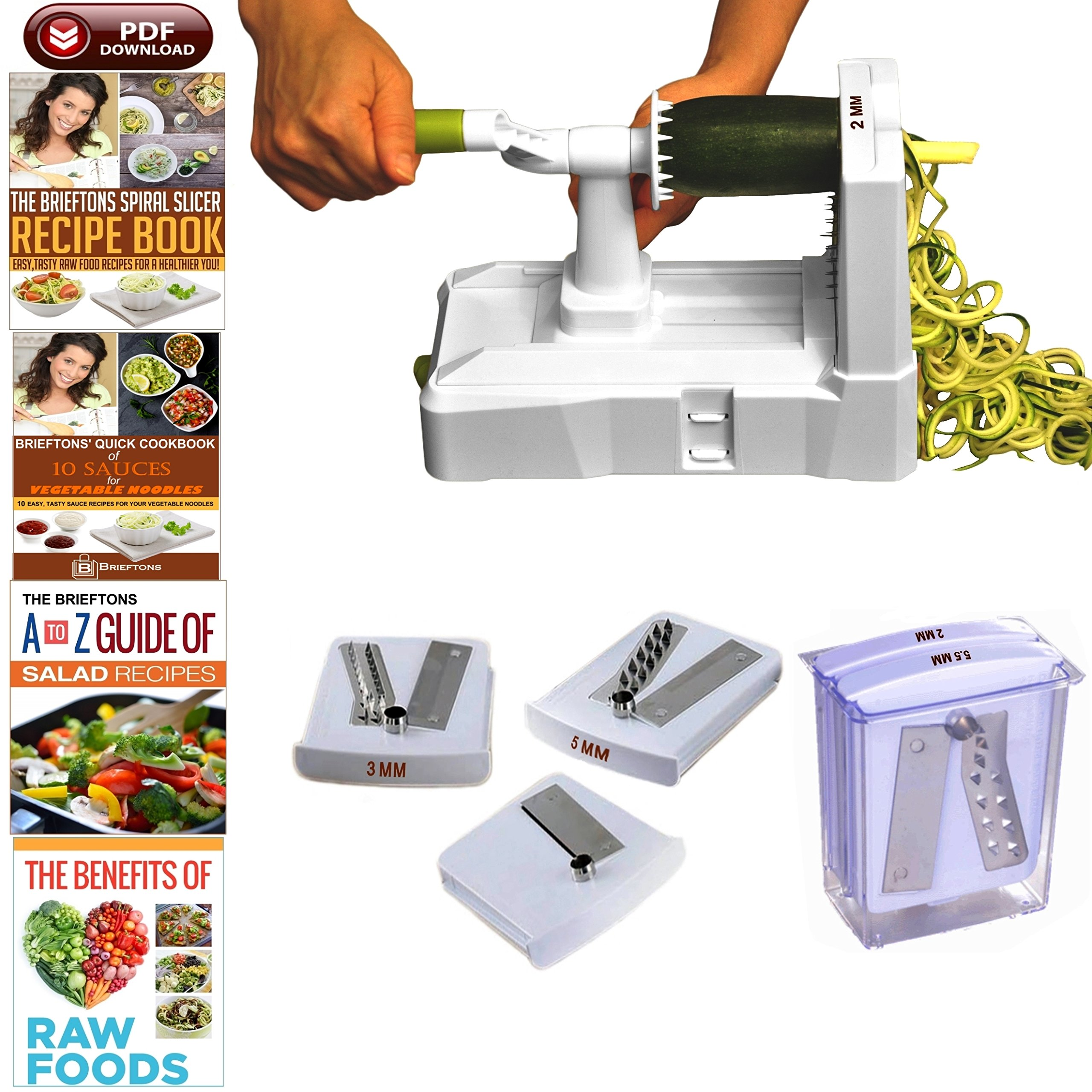 Brieftons 5-Blade Spiralizer (BR-5B-02): Strongest-and-Heaviest Duty Vegetable Spiral Slicer, Best Veggie Pasta Spaghetti Maker for Low Carb/Paleo/Gluten-Free, With Extra Blade Caddy & 4 Recipe Ebooks by Brieftons (Image #1)