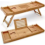 "ELITE CREATIONS Bathtub Caddy & Laptop Bed Desk – 2 In 1 Innovative Design Transforms Our 100% Extra Large Bamboo Bathtub Tray To Bed Tray (10"" wide) – For The Ultimate Pampering Experience"