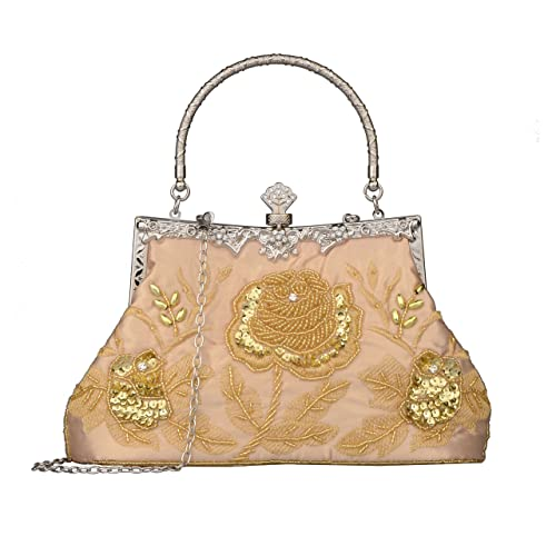52d8e6942444e2 Baglamor Women's Vintage Style Roses Beaded And Sequined Evening Bag  Wedding Party Clutch Purse (Gold