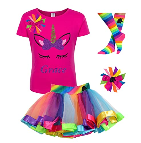 89b22fd5 Amazon.com: Custom Unicorn Shirt Rainbow Tutu Outfit Girls Birthday Purple  4PC Gift Set Personalized Name: Handmade